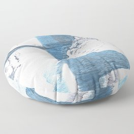 Blue hand-drawn watercolor Floor Pillow