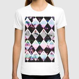 black and pastel colored geometric pattern T-shirt