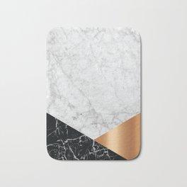 Geometric White Marble - Black Granite & Rose Gold #715 Bath Mat