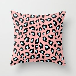 Leopard Print - Icy Peach Throw Pillow