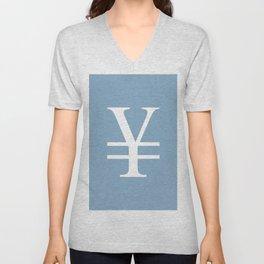yuan currency sign on placid blue background Unisex V-Neck
