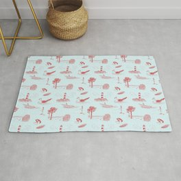 Seaside Town Toile Pattern (Pale Blue and Red) Rug