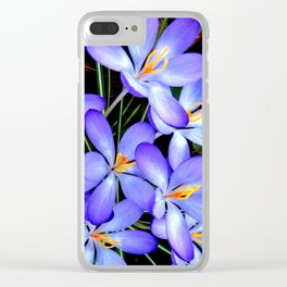 Blue Wildflowers Clear iPhone Case