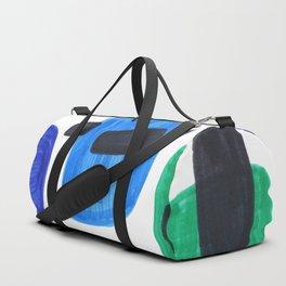 Mid Century Modern Abstract Minimalist Art Colorful Shapes Vintage Retro Style Blue Marine Green Duffle Bag