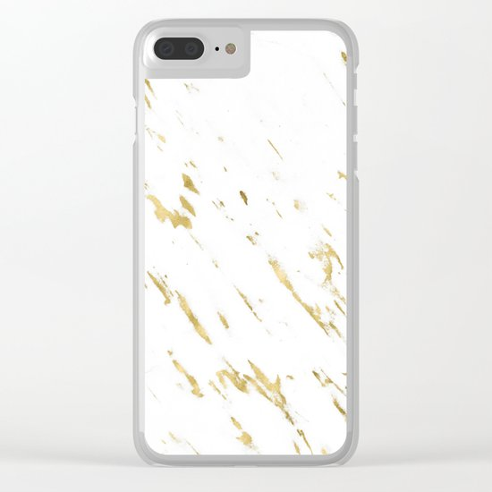Gold White Marble - Trendy Yellow Gold Marble Clear iPhone Case