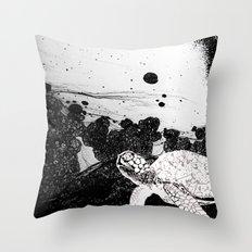 Sea Foam Sea Turtle (B/W) Throw Pillow