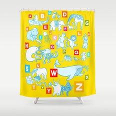 Yellow Alphabet Shower Curtain
