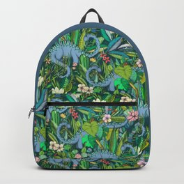 Improbable Botanical with Dinosaurs - dark green Backpack