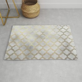 Metallic silver and gold quatrefoil pattern Rug