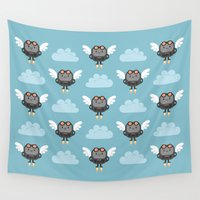 robots Wall Tapestries featuring Cute flying robots by Petits Pixels