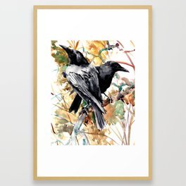Ravens in the Fall, raven wall art Framed Art Print