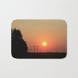 Kansas Sunset with Power Line and Poles Silhouettes Bath Mat