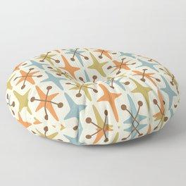 Mid Century Modern Abstract Star Pattern 441 Orange Brown Blue Olive Green Floor Pillow