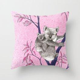 koala with baby in tree Throw Pillow
