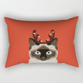 Siamese Cat Reindeer Costume funny cat art for cat lady gift for the holidays cats christmas outfit Rectangular Pillow