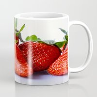 strawberry Mugs featuring Strawberry by Nicole Mason-Rawle