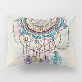 Modern tribal hand paint dreamcatcher mandala design Pillow Sham