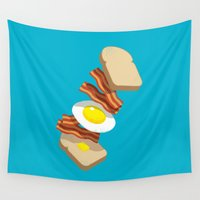 bacon Wall Tapestries featuring Bacon Sandwich by Carlitos Way