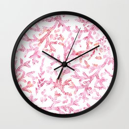 Hand painted pink orange watercolor floral illustration Wall Clock