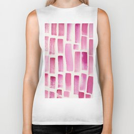 Stripe Pink  | 190213 Watercolour Abstract Painting Biker Tank