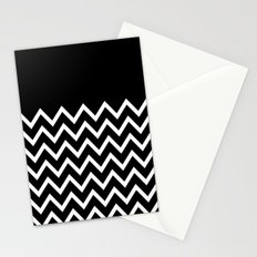 White Chevron On Black Stationery Cards