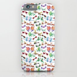 Funny insects falling in love posing for a pattern design iPhone Case