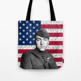 Eddie Rickenbacker And The American Flag Tote Bag