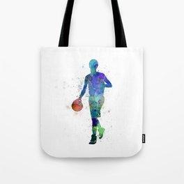 young man basketball player dribbling  Tote Bag