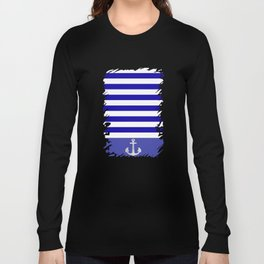 Blue And White Stripes Anchor Long Sleeve T-shirt