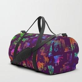 Rainbow Watercolor Plaid Duffle Bag