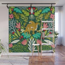 Cheetah Couple Illustration, Wild Cat Jungle Nature, Mandala Painting, Wildlife Tropical Tiger Wall Mural