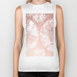 Rose Gold Pink Antique World Map by Nature Magick Biker Tank
