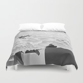 Peony Drama ~ B&W Accented Edges Duvet Cover