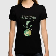 So long, and thanks for all the fish! SMALL Womens Fitted Tee Black