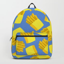 French Fries Pattern Wall Decor Home Art Print Cartoon Poster Yellow Blue Pattern Decoration Backpack
