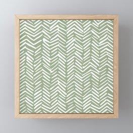 Boho Herringbone Pattern, Sage Green and White Framed Mini Art Print