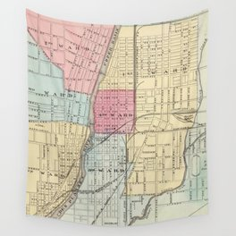 Vintage Map of Joilet IL (1876) Wall Tapestry