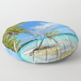 Tropical palm beach in the Pacific Floor Pillow