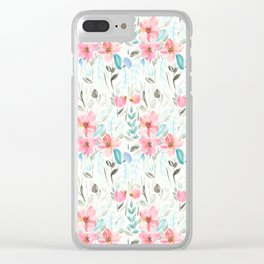 Garden Watercolour Floral Clear iPhone Case