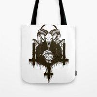 satan Tote Bags featuring Satan by Lunaramour