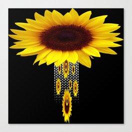 FANCIFUL YELLOW SUNFLOWERS BLACK ART Canvas Print