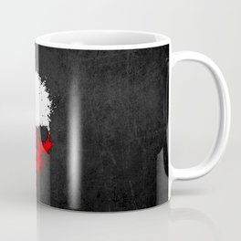 Flag of Poland on a Chaotic Splatter Skull Coffee Mug