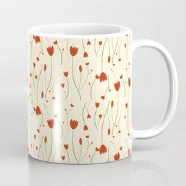 Red and Cream Mini Floral Print Coffee Mug