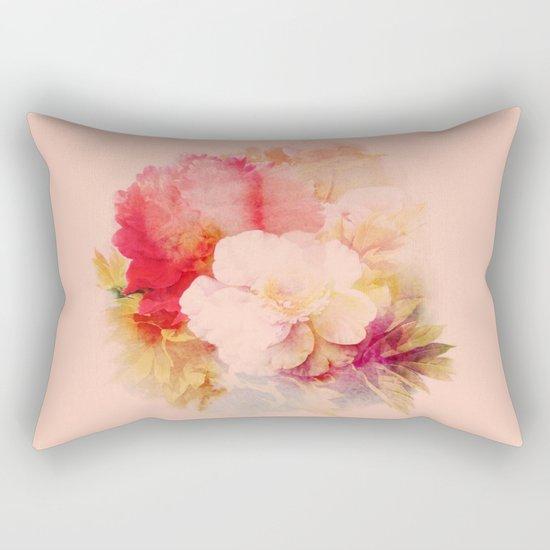 flowers on salmon background Rectangular Pillow