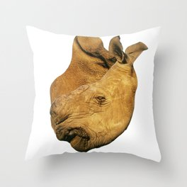 A rhino heart horn Throw Pillow