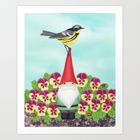 gnome with magnolia warbler and pansies Art Print