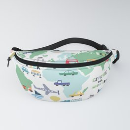 Travel The World Trains Planes Cars Trucks Map Fanny Pack