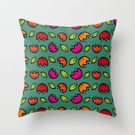 folk  flower collection Throw Pillow