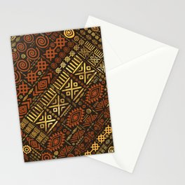 Ethnic African Pattern- browns and golds #5 Stationery Cards