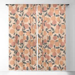 Seamless Citrus Pattern / Oranges Sheer Curtain